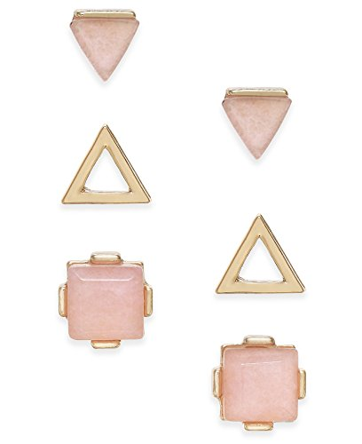 Inspired Life Women's Set of 3 Pairs of Gold-Tone Geometric Stone Stud Earrings, Pink (3 Stone Gold Tone Earrings)