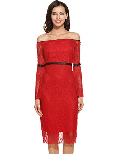 Shoulder Midi Sleeve Lace Long Red Dress Tunic Women's Floral Off ANGVNS qp8AEA