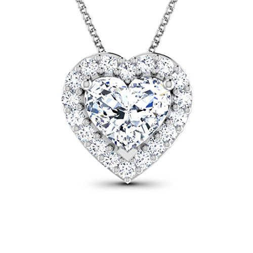 18K Or Blanc 0,59CT TW Round-cut-diamond (IJ | SI) Pendentif