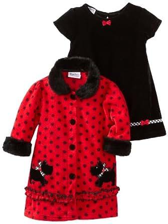 Blueberi Boulevard Baby Girls' Coat Flock Velvet Dress, Red, 18 Months