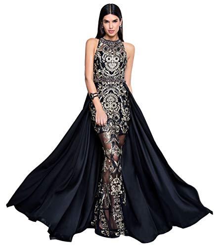 (Terani Couture Halter Neck Sleeveless Embroidered Overskirt Long Dress (Black Gold, 8))