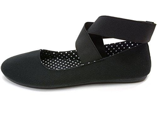 alpine swiss Peony Womens Ballet Flats Elastic Ankle Strap Shoes Black 10 M US by alpine swiss (Image #3)