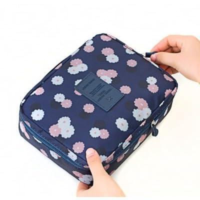 LULANLe sac de voyage étanche obligatoire voyage grand vanity pack hommes et femmes, package tour esthétique petite ,22*17*7cm, fleurs bleu foncé.