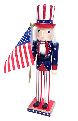 Distinctive Designs Uncle Sam & American Flag Patriotic Large Unique Themed Decorative Holiday Wooden Christmas Nutcracker