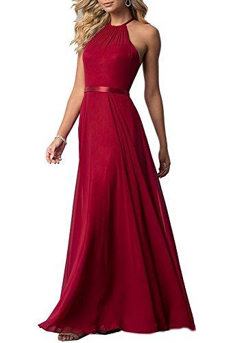 Women's Sleeveless Halter Bridesmaid Dresses Chiffon Flowy Maxi Evening Party Gowns (Dark Red,2)