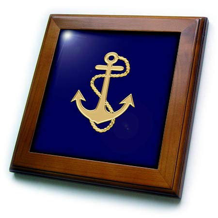 (3dRose Lens Art by Florene - Nautical Decor - Image of Popular Gold Anchor with Chain On Navy Blue - 8x8 Framed Tile (ft_306840_1))