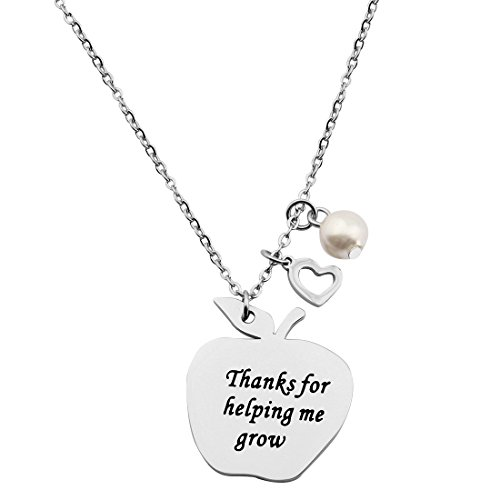 KUIYAI Teacher Appreciation Gift Thanks for Helping Me Grow Apple Charm Necklace (Teacher Apple Necklace)