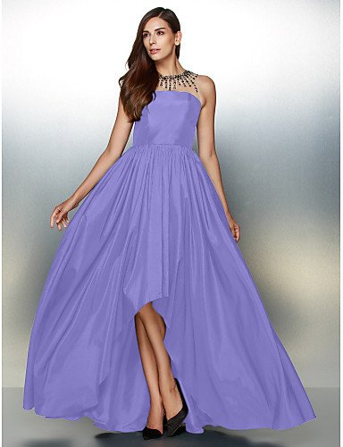 De Asimétrica Una De Tafetán Formal Vestido Cuello Línea Joya Crystal Lavender De Noche amp;OB Detallando Con HY Prom qtXS5