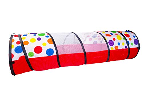 EWONDERWORLD 6' Polka Dot Kid'S Pop-Up Play Tunnel with Carrying Bag - Children'S Tunnel, Play Tube, Crawl Tunnel for Toddlers, Toy Tunnel -