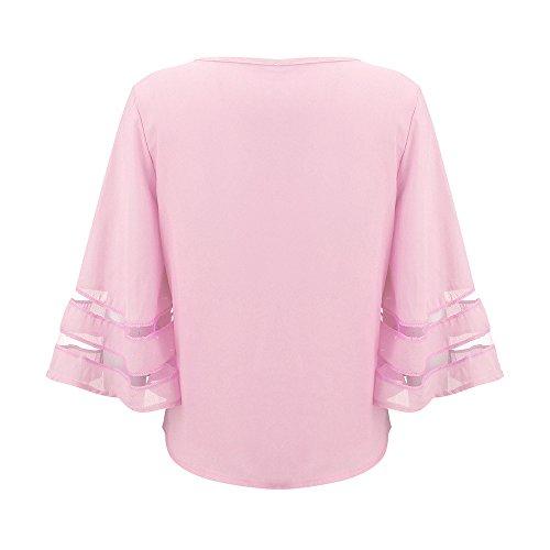 Rosa T Maglietta Estive Donna Donne Magliette Felpa Tunica Canotta Shirts Levifun 3 Camicette Casual Estate V Collo Eleganti Sexy 4 Vestiti Manica Bvqw1