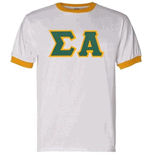 - Express Design Group Sigma Alpha Lettered Ringer Shirt Medium White w/Gold Trim