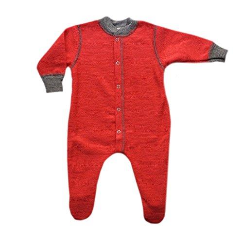 Engel 100% merino wool baby pajamas pyjamas romper overall sleepwear 55 5711 (6-12 Months, Hibiscus red) by Engel