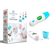 Instant Read Thermometer for Baby - Clinical Forehead and Ear Infrared Digital Fever Thermometer - Also for Toddlers and Children by Puretech Baby