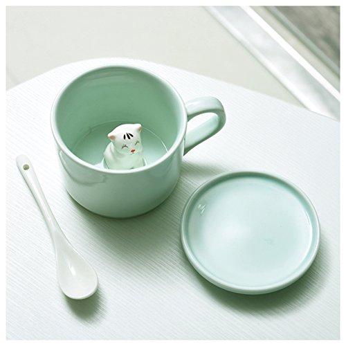 3D Cute Cartoon Miniature Animal Figurine Ceramics Coffee Cup with Spoon - Baby Animals Inside, Best Birthday Gift Idea (Small Flower Cat)