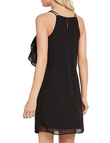 ALLY Loose Dress Sleeveless Fit Strap Chiffon MAGIC Black Ruffles Spaghetti Womens rwPxzrZX