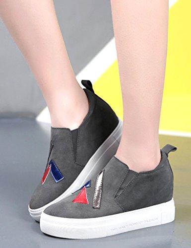 HWF Chaussures femme La femelle de ressort a augmenté dans les chaussures de fond épaisses de femmes une pédale ( Couleur : Gris , taille : 38 ) Gris