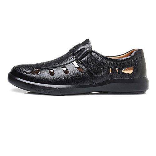 Black Leather Slip Genuine Hollow Men,Classic Flat Soft Genuine Shoes Ruiyue Breathable for Soft Sole on Men Leather Perforation Loafer Loafer Shoes fRq8n5w