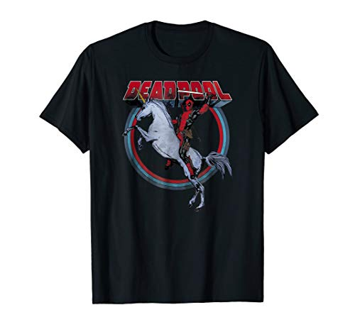 Marvel Deadpool Riding A Unicorn Circle Graphic T-Shirt