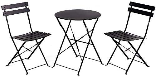 c9484c78d07e Grand patio Premium Steel Patio Bistro Set, Folding Outdoor Patio Furniture  Sets, 3 Piece Patio Set of Foldable Patio Table and Chairs, Black