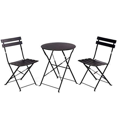 Grand Patio Premium Steel Patio Bistro Set, Folding Outdoor Patio Furniture Sets, 3 Piece Patio Set of Foldable Patio Table and Chairs, Black ()