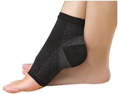 TENDON Ankle Compression Sleeve (1 Pair) Brace Support, Relieve Plantar Fasciitis, Reduces Pain/Swelling, Supports Foot Blood Flow For men and women (Black, S/M/L/XL)