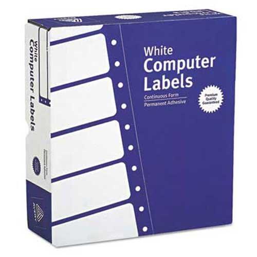 Dot Matrix Printer Address Labels, 3 Across, 15/16 x 3-1/2, White, 15000/Box
