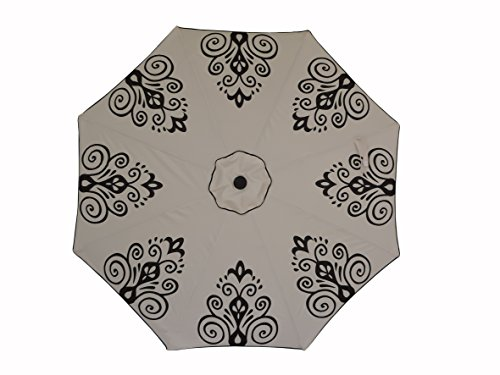 Pebble Lane Living 9 Weather Resistant Resort Chic Designer Patio Umbrella with Tilting Function with Powder-Coated Aluminum Black Pole and Crank Open and Close