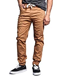 Victorious Mens Twill Jogger Pants Beige