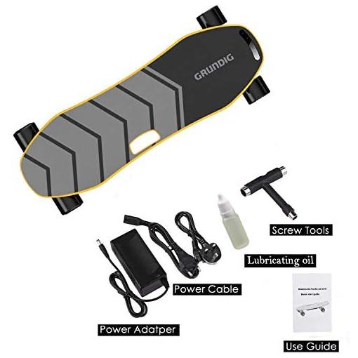 GRUNDIG Électrique Skateboard, Planche électrique Auto-équilibrée de 90 cm avec Deux Moteurs 360W, Plateau en Bois d'érable à 9 Couches, Vitesse maximale 25 km/h et autonomie 18 km