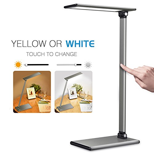 MoKo LED Desk Lamp, 8W Eye-Care Smart Touch Control Table Lamps with Rugged Aluminum Alloy Body, Stepless Adjusted Color Temperature/Brightness Level, Rotatable Arm/Head, Memory Function - Dark Gray by MoKo (Image #4)