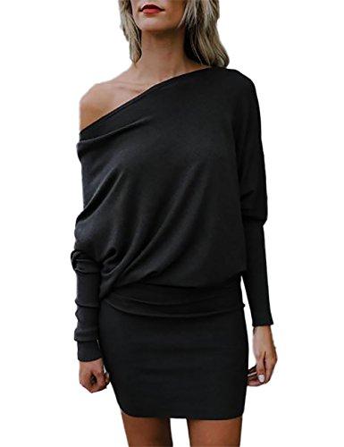 One Shoulder Mini (VintageRose Womens One Shoulder Batwing Sleeve Mini Sweater Dress Large Black)