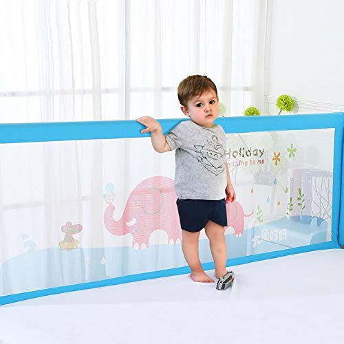 Vertical Lift Sleep Crib Rail Toddler Mesh Folding Bed Guard For King Size Bed Color : Blue, Size : 1.5m MUMA Baby Bed Rail Extra Tall 100cm Blue//pink