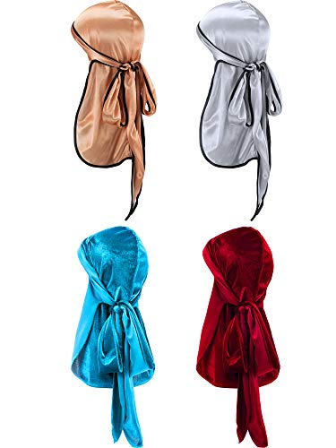 Tatuo 2 Pieces Velvet Durag and 2 Pieces Silky Soft Durag Cap Headwraps with Long Tail and Wide Straps for 360 Waves (Style L)