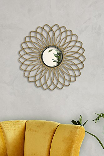 Logam Metal Jute Covered Floral Decorative Wall Mirror