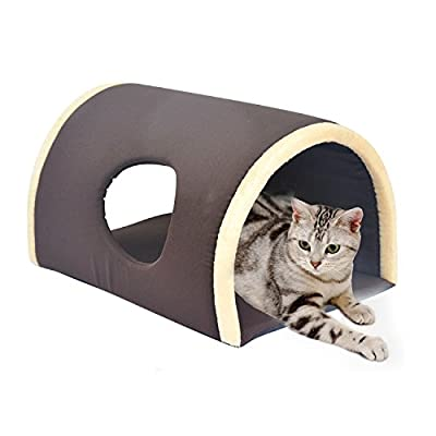 HomCom Tunnel Pet Bed Dog Cat Small Animals Bed Washable, Coffee Brown