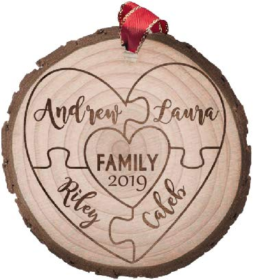 Cozzies Custom Engraved Wood Slice Family of 4 Ornament, Rustic Personalized Christmas Ornament, (Ornament Personalized)