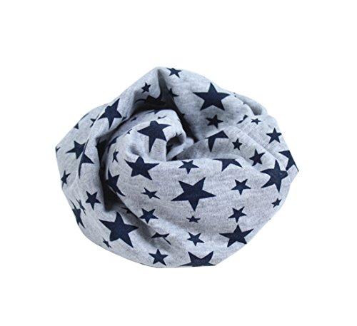Cute Kids Infinity Scarves: Cotton Stars Print Neck Scarf (Gray)