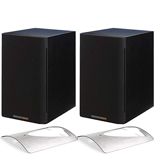 (Paradigm Bundle: Shift A2 Powered Bookshelf Speakers (Storm Black Satin - Pair) and Solid Stainless Steel Stands for The A2 (Pair))
