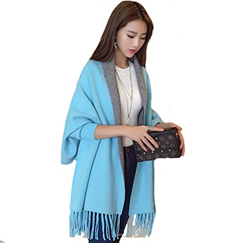 VANCOL Reversible Cashmere Shawl Scarf Cape Cloak with Sleeves (Lake Blue)