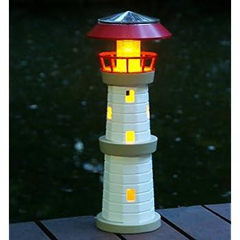 14decor solar powered outdoor garden lighthouse - Garden Lighthouse