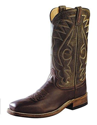 Gammalt Västra Mens Runt Hål Tvåfärgade Western Cowboy Boot Fyrkantig Tå - Bsm1845 Choklad