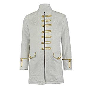 Renaissance Mens Velvet Goth Steampunk Victorian Frock Coat/Brocade White/Gold