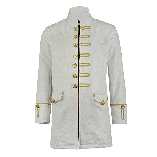 Darkrock Renaissance Mens Velvet Goth Steampunk Victorian Frock Coat/Brocade White/Gold (Large, Brocade/White)