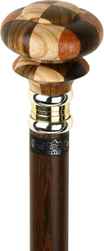 Mad Hatter Multi Wood Knob Handle Walking Stick With Wenge Wood Shaft and Two Tone - Finish Wenge Wood