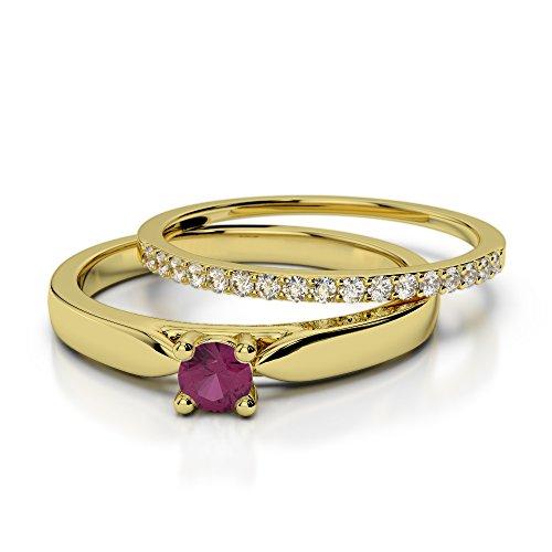 Or jaune 18carats 0,20CT G-H/VS Certifié Coupe ronde Rubis et diamant de mariage Bague de fiançailles et ensemble de Agdr-1055