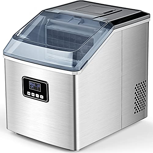 FREE VILLAGE Ice Maker Machine Countertop, Auto Self-Cleaning, 40Lbs/24H, 24pcs in 13 Mins,Portable Compact Ice Maker…