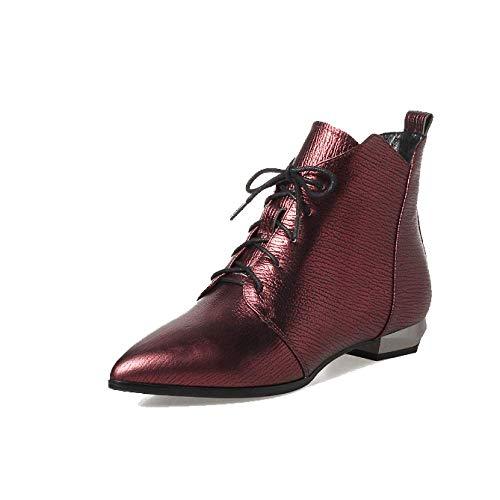 Portable Chaussures Femmes Décontracté Pointu Martin ZPEDY pour Confortable Bottes Winered Dentelle qzxEUgnSw