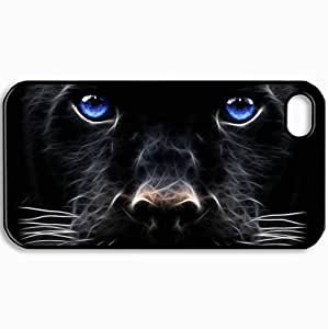 Customized Cellphone Case Back Cover For iPhone 4 4S, Protective Hardshell Case Personalized Cats Design Big Cat Black