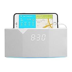 WITTI BEDDI Smart Radio Alarm Clock Speaker with Smart Home Integration, White
