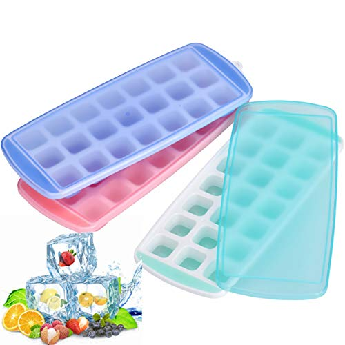 Queta IJsblokjesvorm, siliconen ijsblokjesvorm met deksel, creatieve koelkast, bevroren ijsblokjesvorm 21 rooster. DRIE.